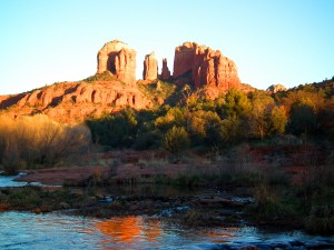 a beautiful view from a stream at the base of the red rocks on a Sedona Vortex Tour